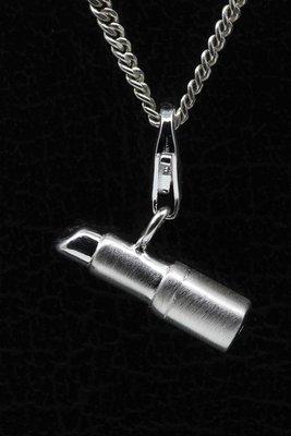 Zilveren Lippenstift zilver hanger én bedel