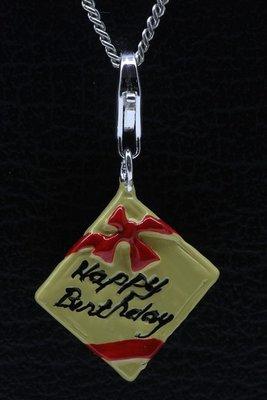 Zilveren Verjaardagscadeau Happy Birthday hanger én bedel