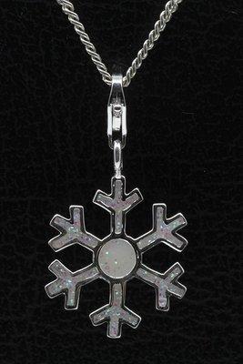 Zilveren Sneeuwvlokje met opaalsteentjes hanger én bedel