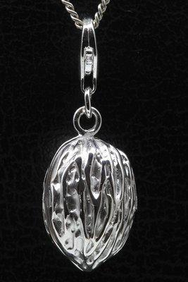 Zilveren Walnoot groot te openen hanger én bedel