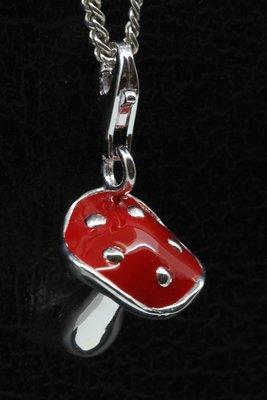 Zilveren Paddenstoel rood met stippen hanger én bedel