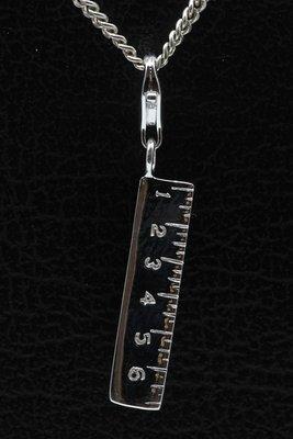 Zilveren Lineaal hanger én bedel