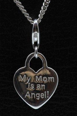 Zilveren Hartje My Mom is an Angel hanger én bedel