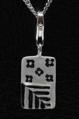 Zilveren Slaapzak zwart/wit hanger én bedel