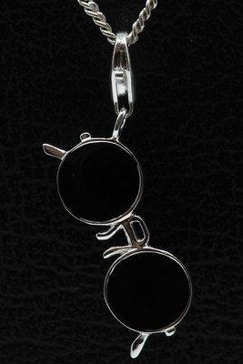 Zilveren Bril zwart hanger én bedel