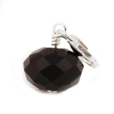 Zilveren Bal zwart kristalgeslepen armband bedel