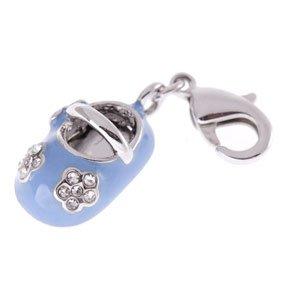 Zilveren Babyschoen blauw hanger en/of bedel
