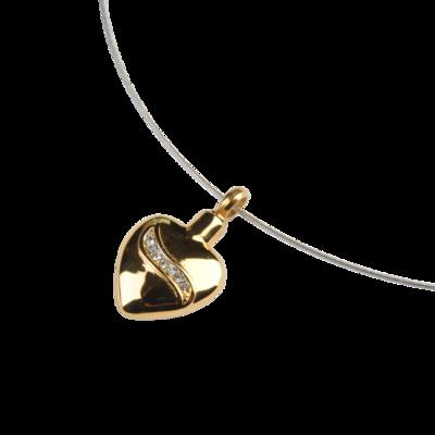 RVS assieraad kristallen Hart goud herdenkings hanger