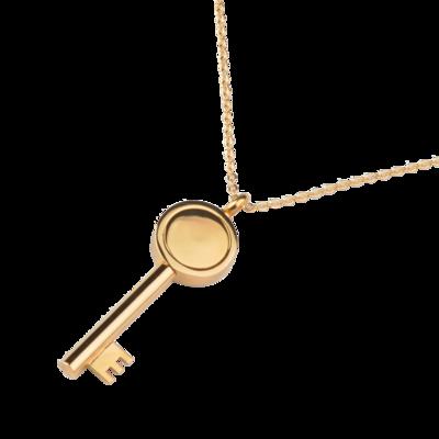 RVS assieraad gouden Sleutel design herdenkings hanger