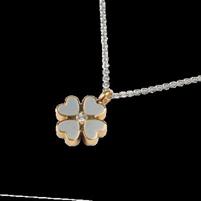 RVS assieraad Klaver 4 goud/zilver design herdenkings hanger