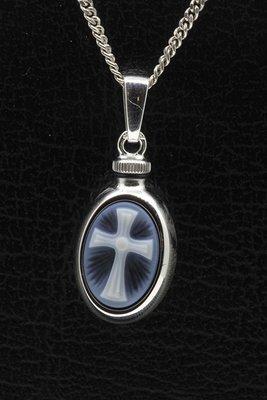 Zilveren Kruis blauw ashanger