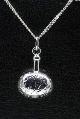 Zilveren Ashanger ovaal bewerkt