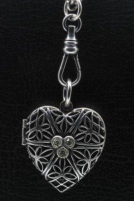 Foto medaillon Bloemenhart 2 foto's ketting hanger zwaar verzilverd