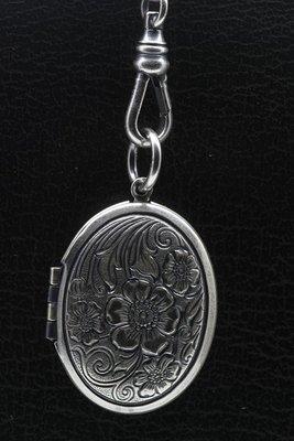 Foto medaillon Ovaal zonnebloemen 2 foto's ketting hanger zwaar verzilverd