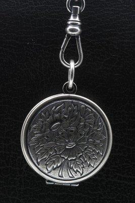 Foto medaillon Rond met zonnebloem 2 foto's ketting hanger zwaar verzilverd