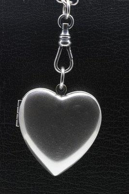 Foto medaillon Hart glad 2 foto's ketting hanger zwaar verzilverd
