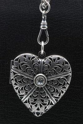 Fotomedaillon Hart met kristal 2 foto's ketting hanger zwaar verzilverd