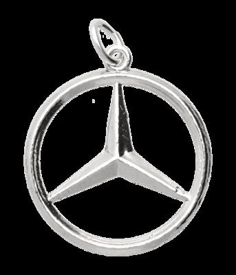 Zilveren Mercedes ster ketting hanger - groot