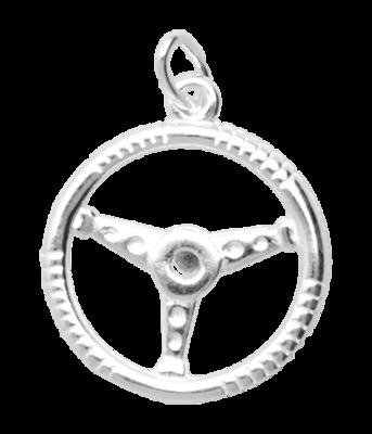 Zilveren Sportstuur ketting hanger - 2