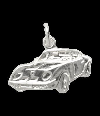 Zilveren Sportauto vlak ketting hanger