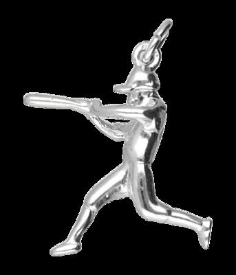 Zilveren Honkbal slagman ketting hanger