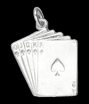 Zilveren Kaartspel ketting hanger
