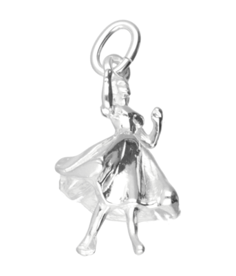 Zilveren Danseres ketting hanger - ballroom