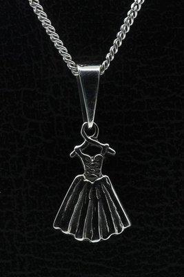 Zilveren Ballet jurk ketting hanger - 2