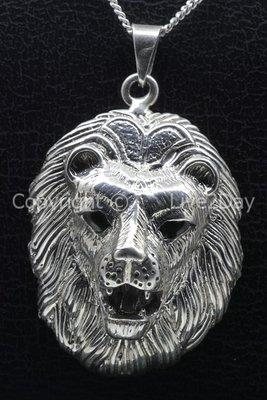 Zilveren Leeuwenkop gezwart ketting hanger - groot
