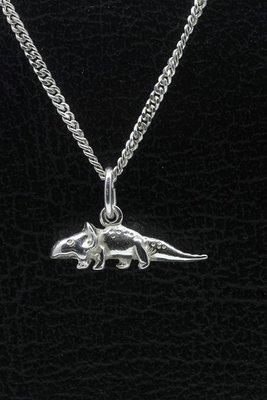 Zilveren Dinosaurus 2 ketting hanger