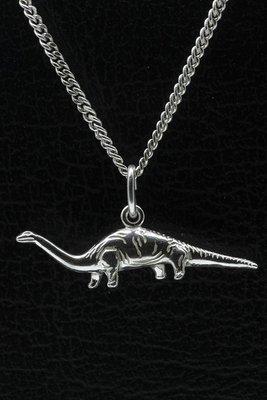 Zilveren Dinosaurus 1 ketting hanger