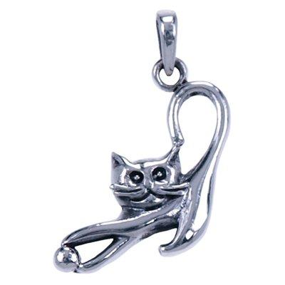 Zilveren Kat met bal ketting hanger