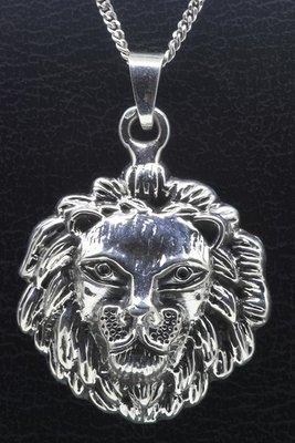 Zilveren Leeuwenkop ketting hanger