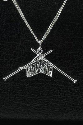 Zilveren Breiwerk ketting hanger