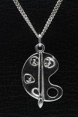 Zilveren Schilderspallet met losse kwast ketting hanger