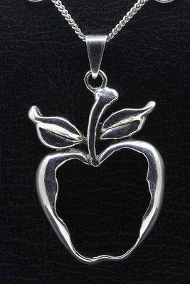 Zilveren Appel open ketting hanger