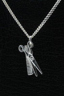 Zilveren Kam en schaar ketting hanger