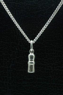 Zilveren Scheerkwast ketting hanger