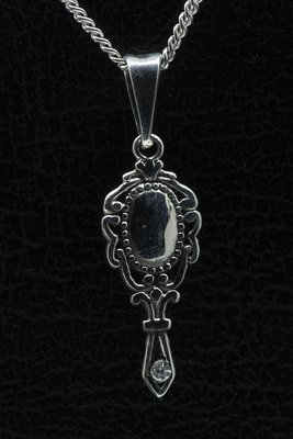 Zilveren Spiegel bewerkt ketting hanger