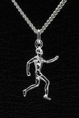 Zilveren Hardloper ketting hanger