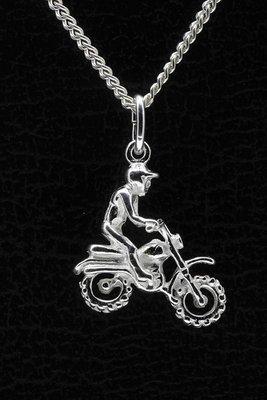 Zilveren Motorcrosser ketting hanger