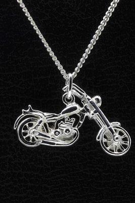 Zilveren Motor ketting hanger - easy rider