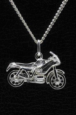 Zilveren Motor ketting hanger