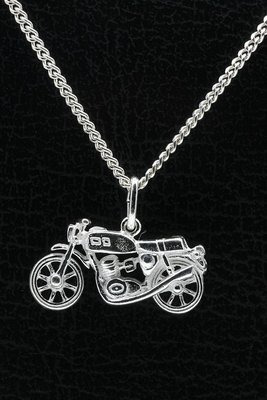 Zilveren Motor ketting hanger - 8