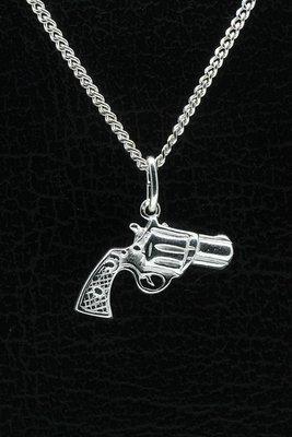 Zilveren Revolver zwaar ketting hanger