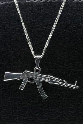 Zilveren Machinegeweer ketting hanger