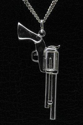 Zilveren Revolver ketting hanger - groot
