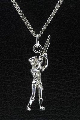 Zilveren Jager of Schutter ketting hanger