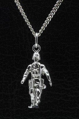 Zilveren Soldaat Militair ketting hanger