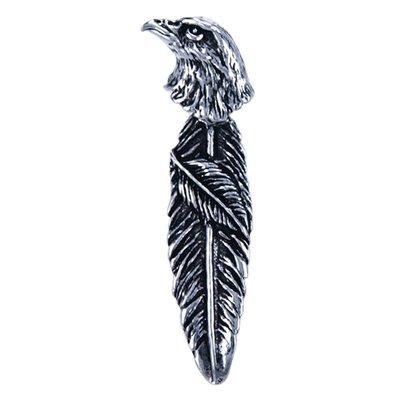 Zilveren Adelaarskop met bewegende veer ketting hanger
